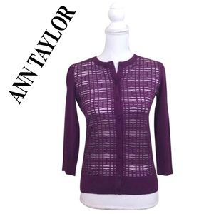 Ann Taylor Purple Button Up Cardigan Sweater